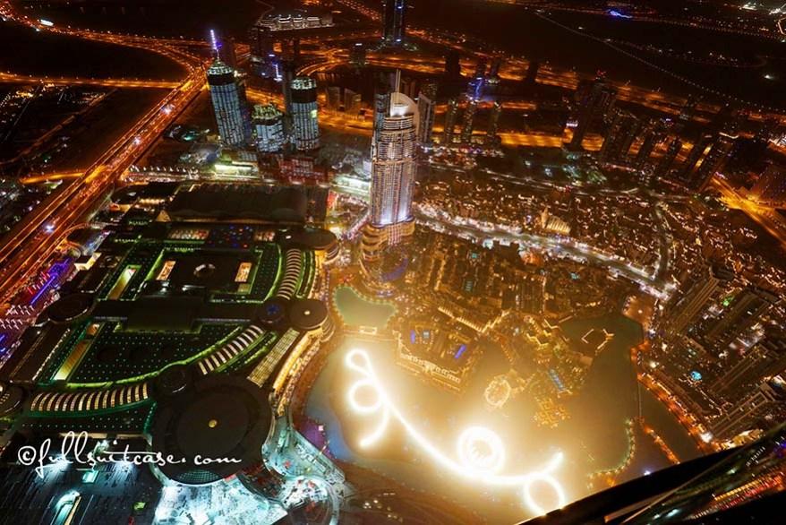 Dubai Fountain Show at night as seen from the top of Burj Khalifa