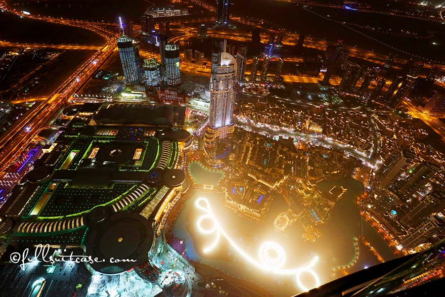 Dubai Fountain Show at night as seen from the top of Burj Khalifa