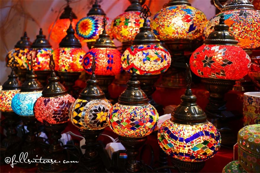 Colourful Oriental Lamps for sale at the Spice Souk in Dubai