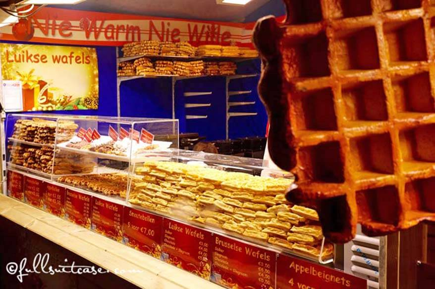 Variety of Belgian waffles at a local market