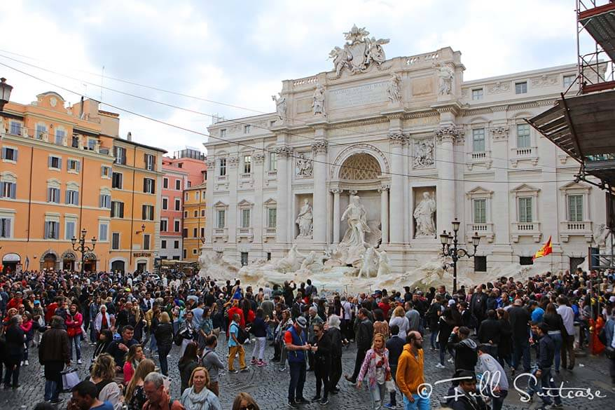Trevi fountain is better visited in the evening - read about common mistakes tourists make in Rome and how to avoid them