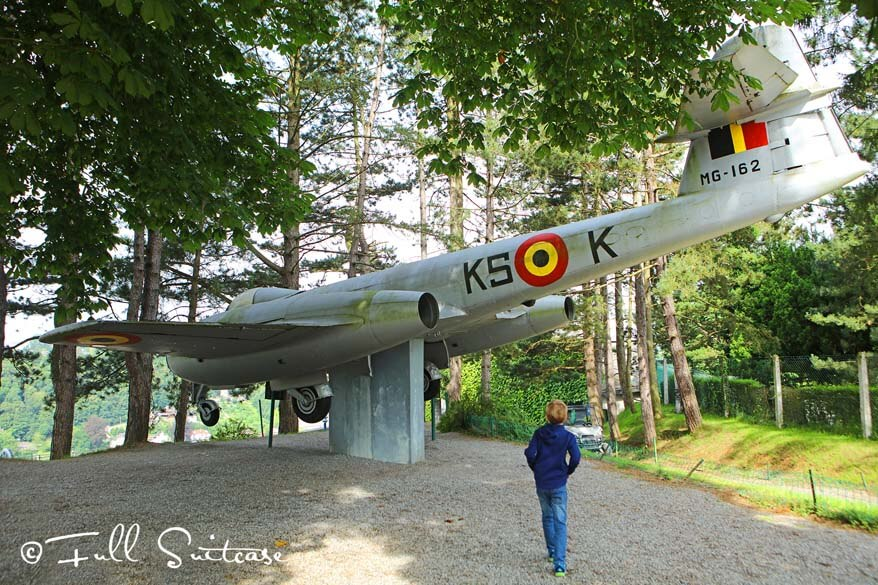 Old military plane at the Citadel of Dinant in Belgium