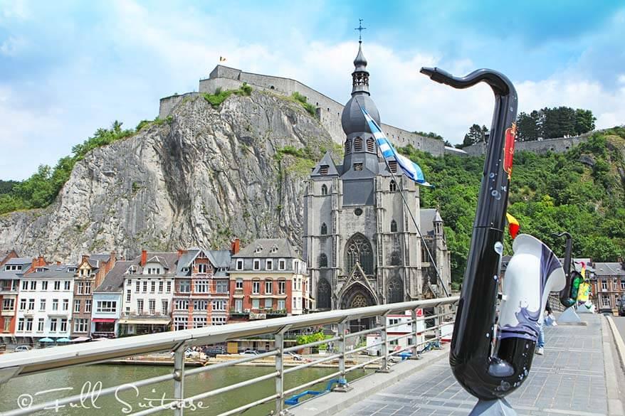 Pont Charles de Gaulle or the saxophone bridge in Dinant Belgium