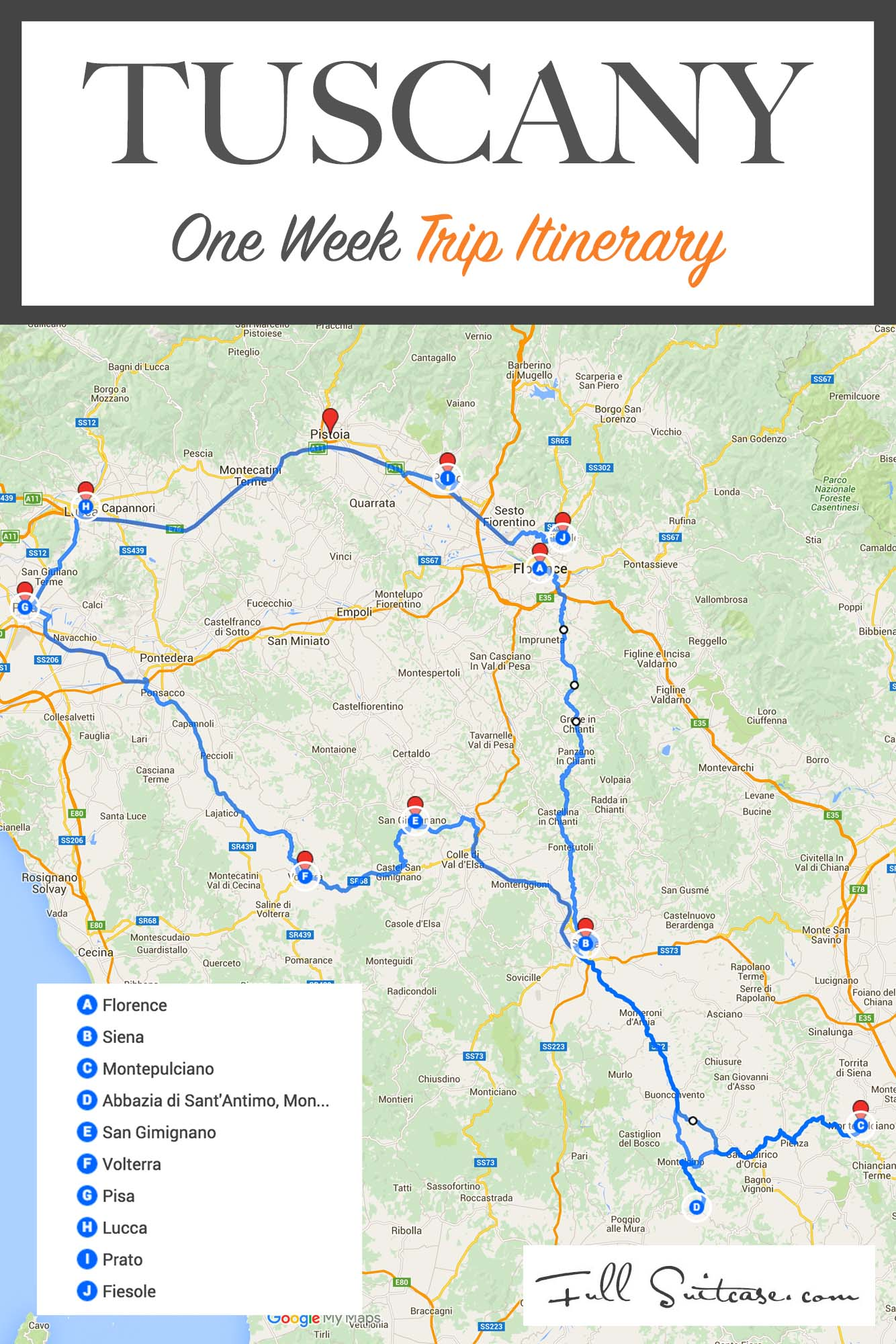 See The Best Of Tuscany In One Week - Map tuscany