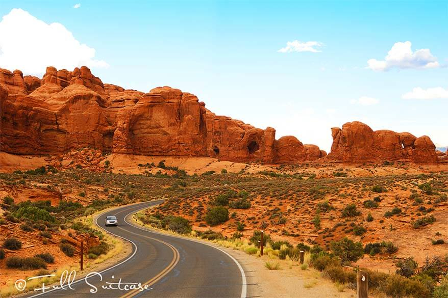 Beautiful road at the Arches National Park Window Section