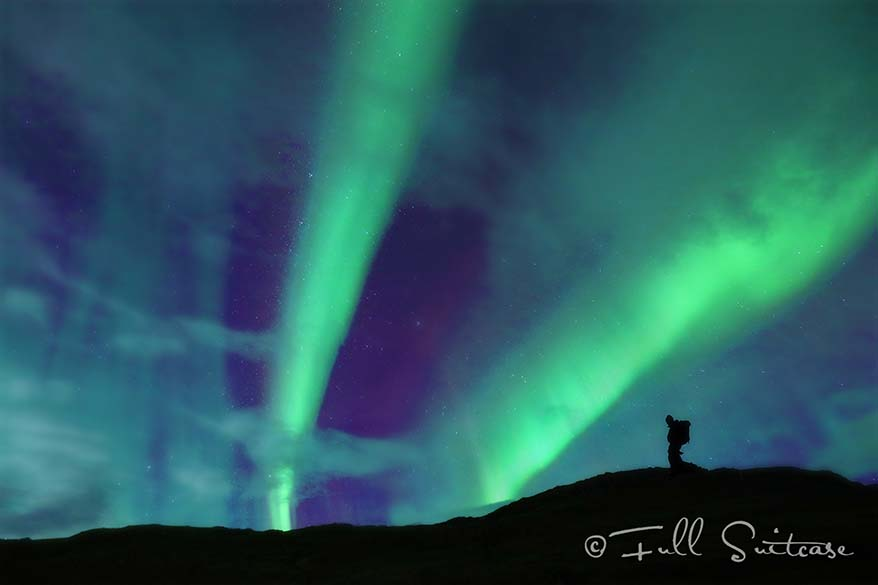 Hiking in Iceland with amazing Northern Lights display