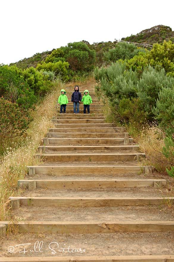 Climbing the Prospect Hill on Kangaroo Island with kids