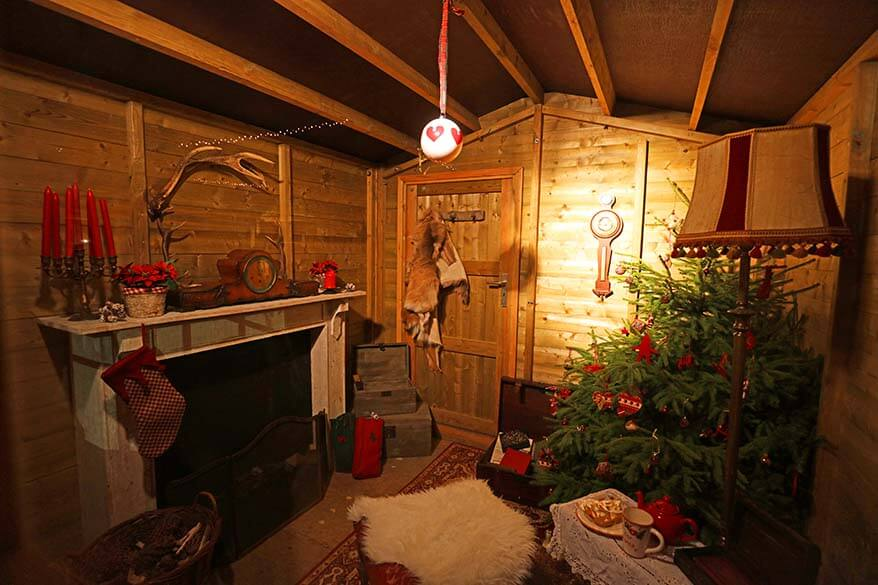 Santa's houses at Leuven Christmas market in Belgium