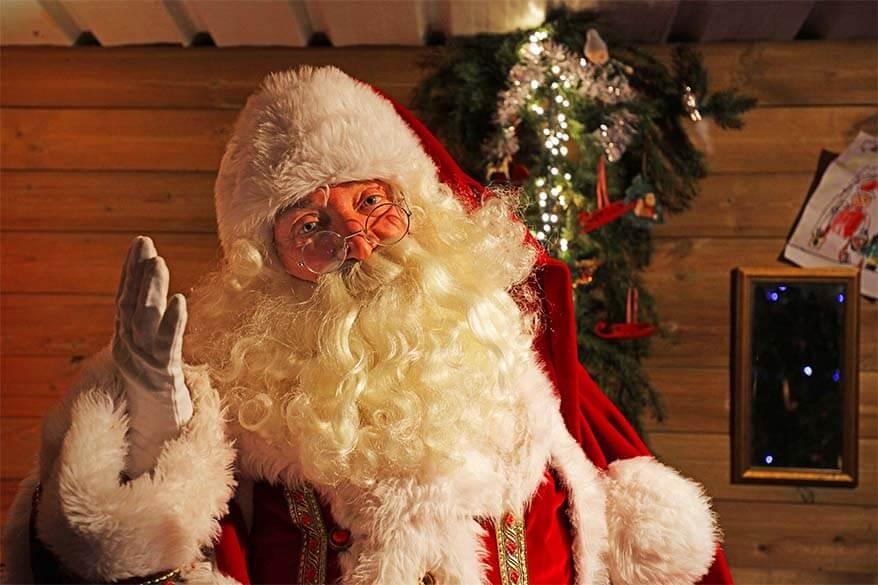 Santa Claus at a Christmas market in Leuven, Belgium