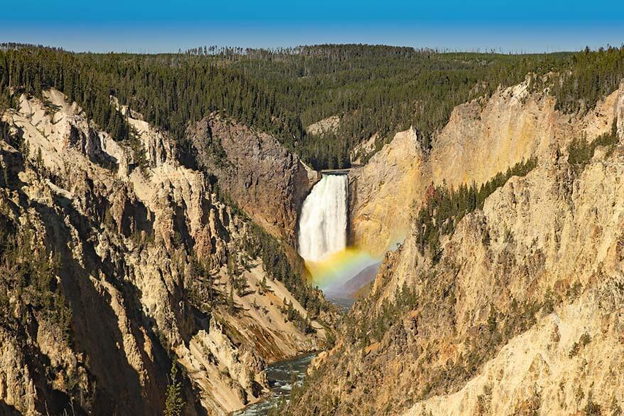 Grand Canyon of Yellowstone - view from Artist Point with a rainbow over the waterfall