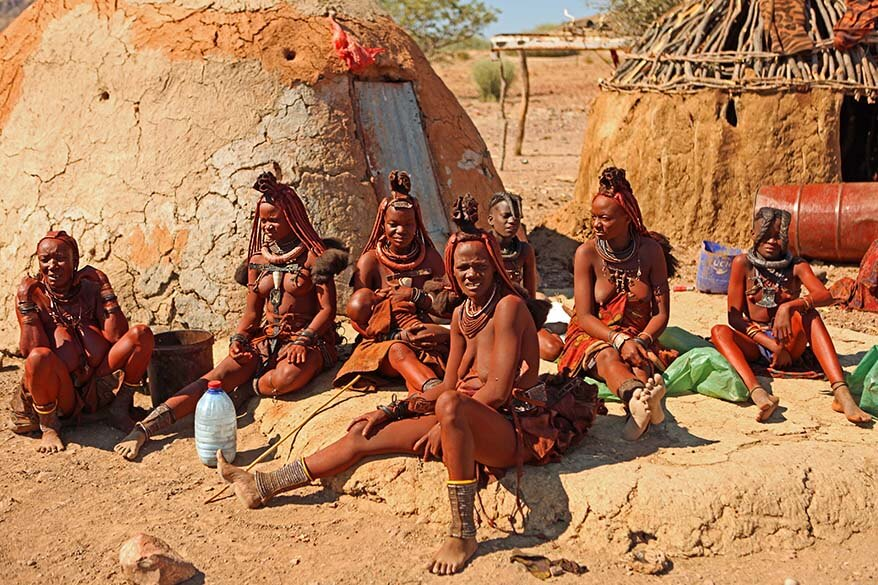 Himba tribe women in Damaraland Namibia