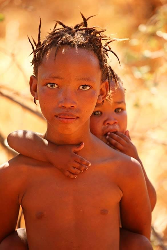 San bushmen tribe children in Namibia