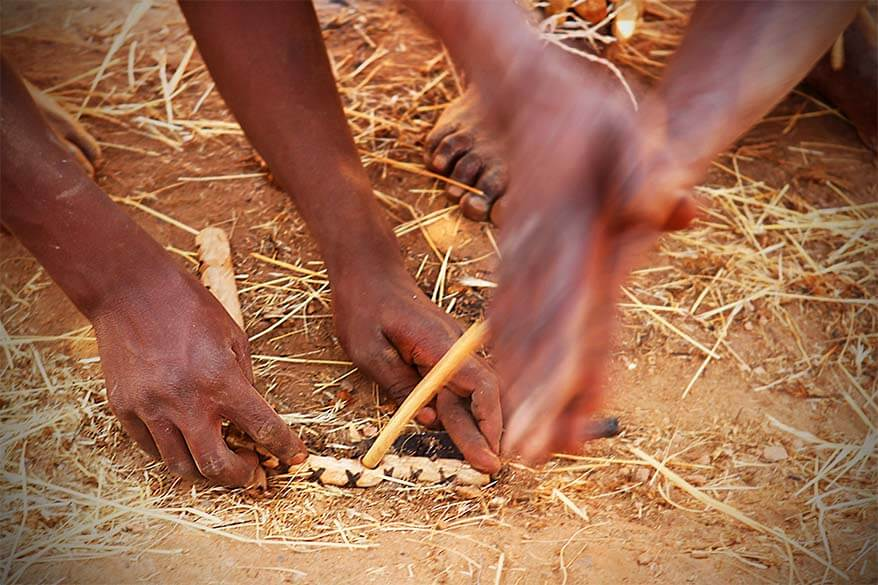 Starting a fire without matches, the traditional Damara way