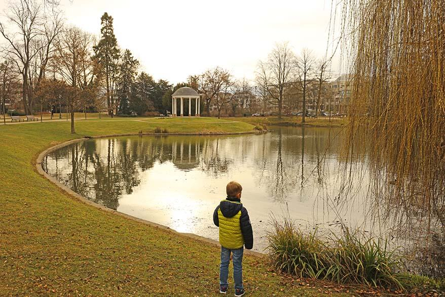 Parc de L'Orangerie is a great place to spend a couple of hours in Strasbourg with kids