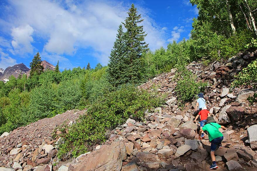 The more challenging part of Crater Lake Trail at Maroon Bells with kids