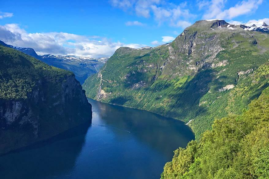 Geirangerfjord in Norway as seen from the Eagle Road