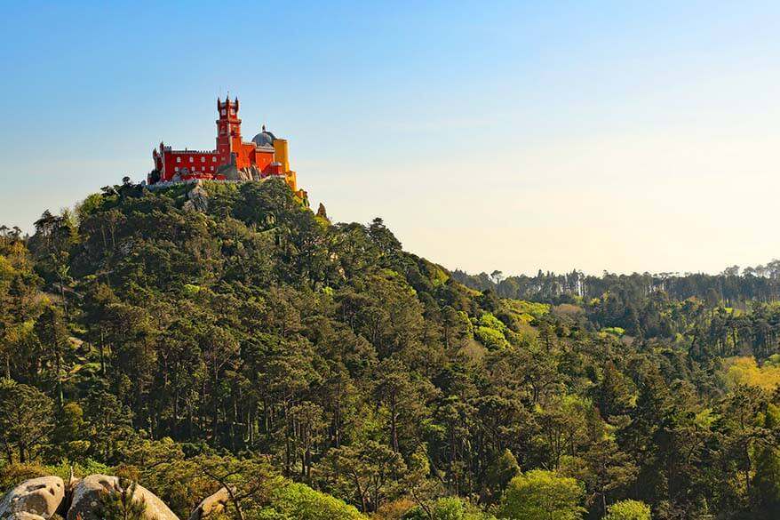 Pena Palace as seen from the Moorish Castle - Sintra Portugal