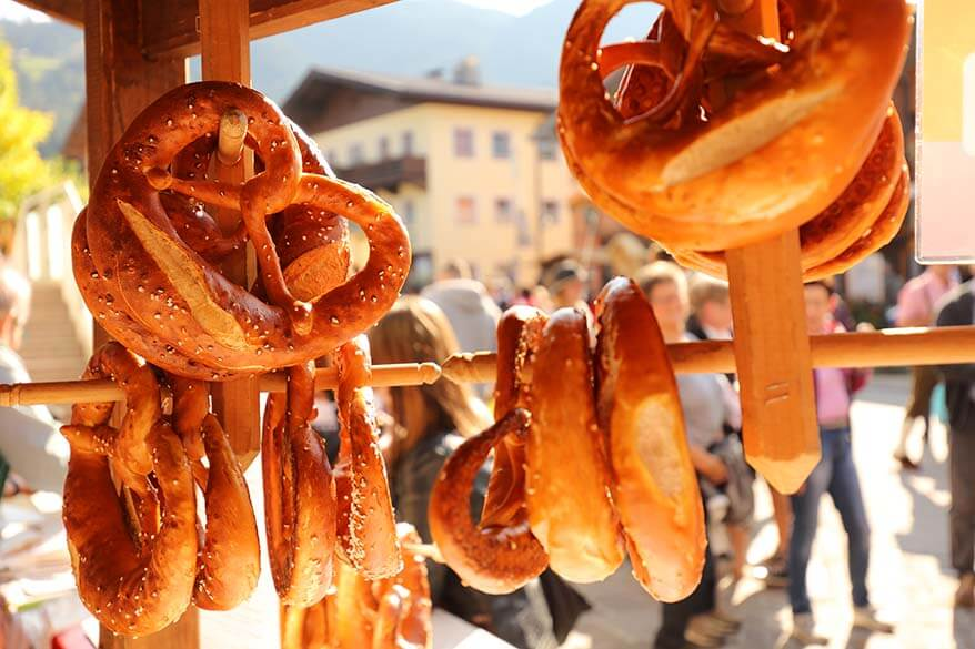 Austrian pretzels for sale at a farmer's market in Tyrol