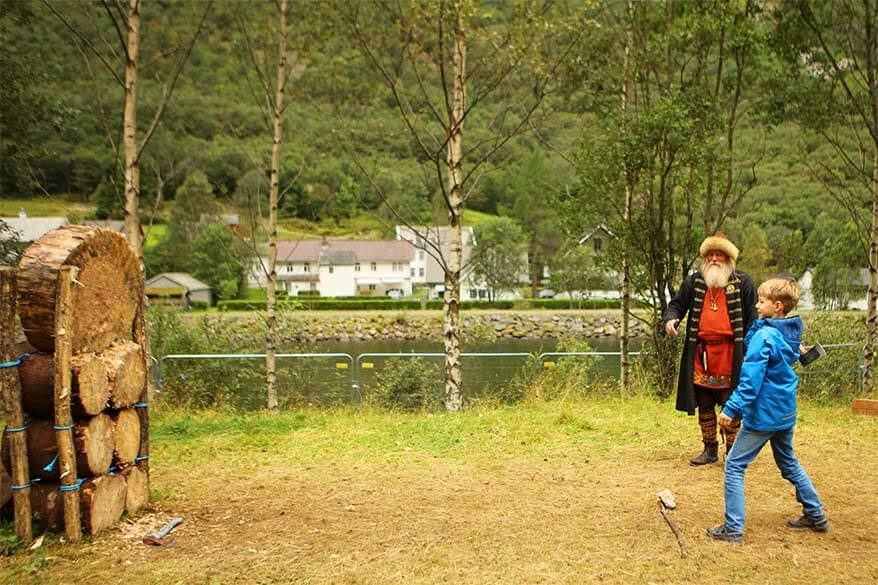 Axe throwing at the Viking Valley in Gudvangen Norway