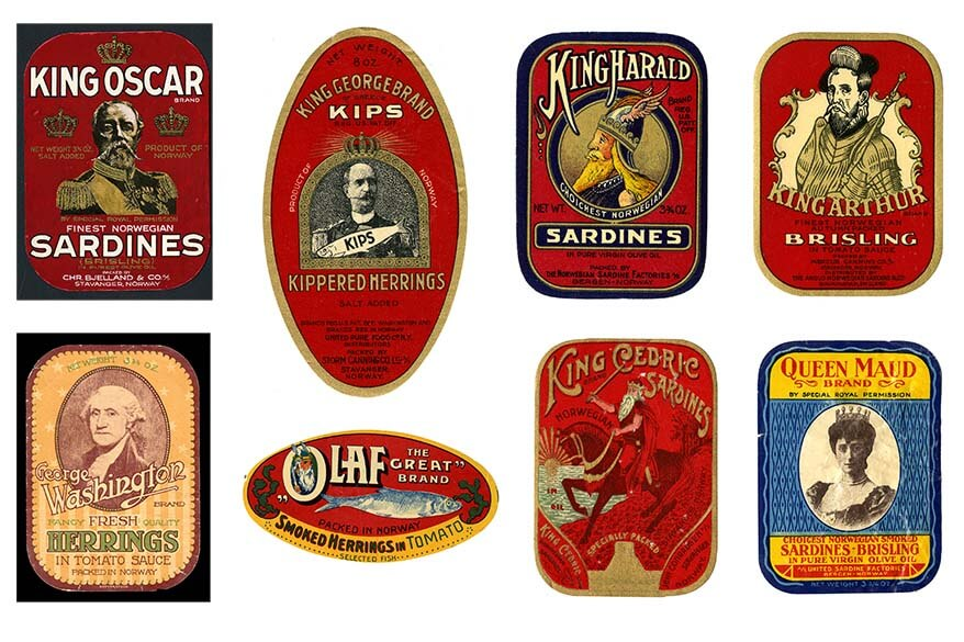 Canned fish retro labels from Norwegian Canning Museum in Stavanger
