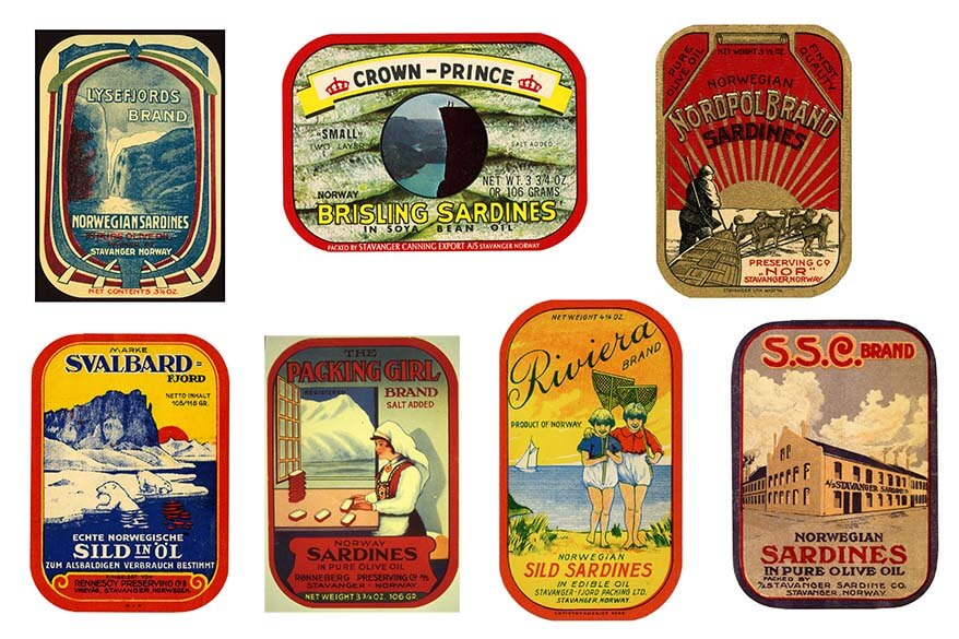 Norwegian themed sardine can labels
