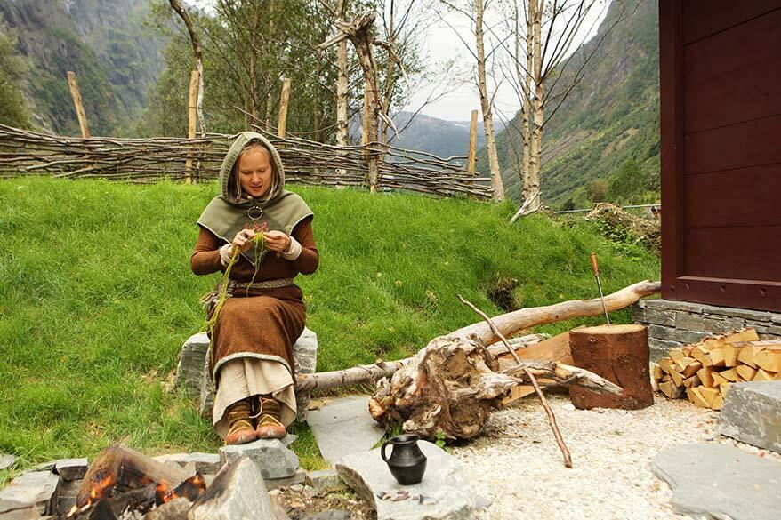 Vikings at Njardarheimr Viking Village in Gudvangen Norway