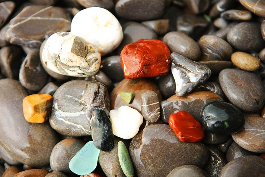 Colorful stones of Camogli beach in Italy