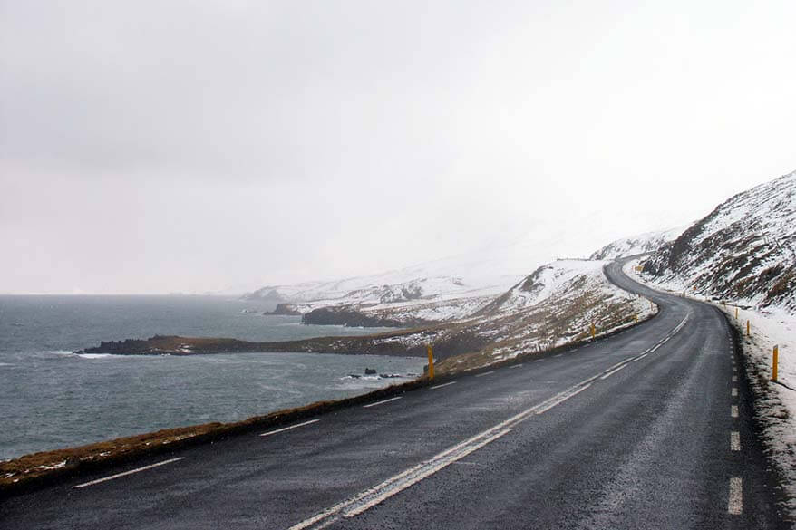 Driving in North East Iceland in winter