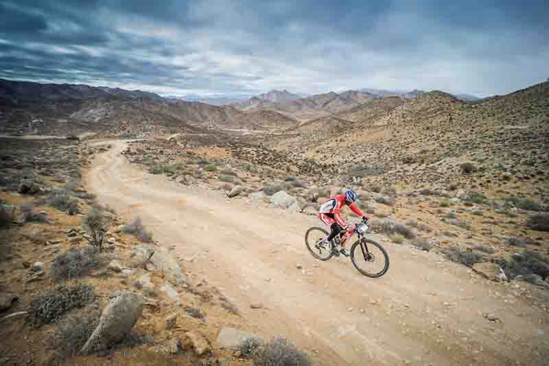 The multi-day mountain bike Stage Tour, Desert Knights, taking place in the Ai-Ais Richtersveld Transfrontier Park - starting from Hobas and eventually finishing in Sendelingsdrift on the Gariep River. The 6-day event crosses borders between Nambibia and South Africa, and also boasts one day of rafting down the mighty Orange in the Northern Cape, South Africa, RSA