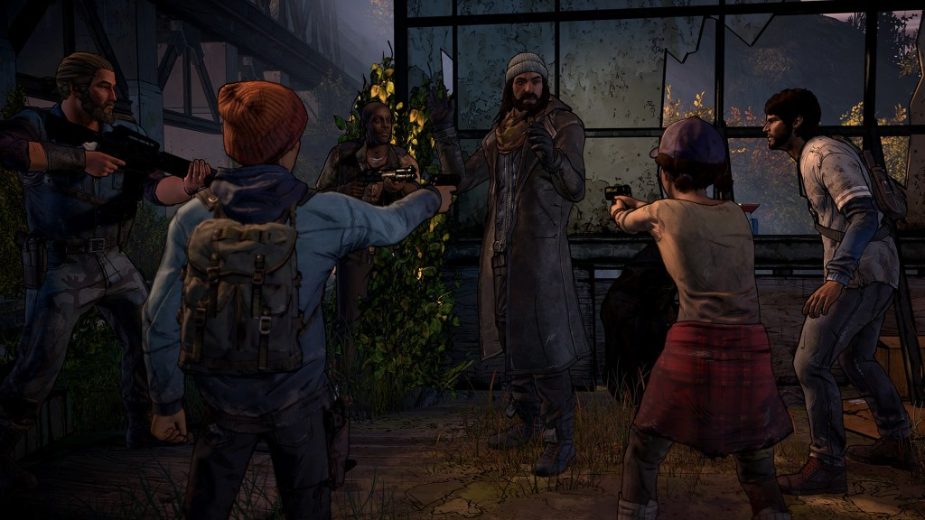 The Walking Dead The Telltale Series A New Frontier gameplay showing survivors surrounding Jesus