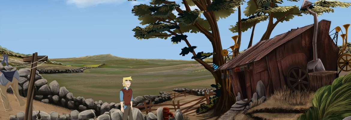 The Little Acre gameplay showing a lone person outside a shed