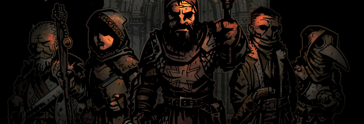 Darkest Dungeon logo with artowkr showing characters in the dark lit up by a lone torch