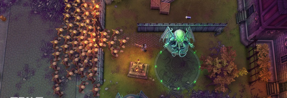 Tesla vs Lovecraft gameplay footage showing player fighting off a horde