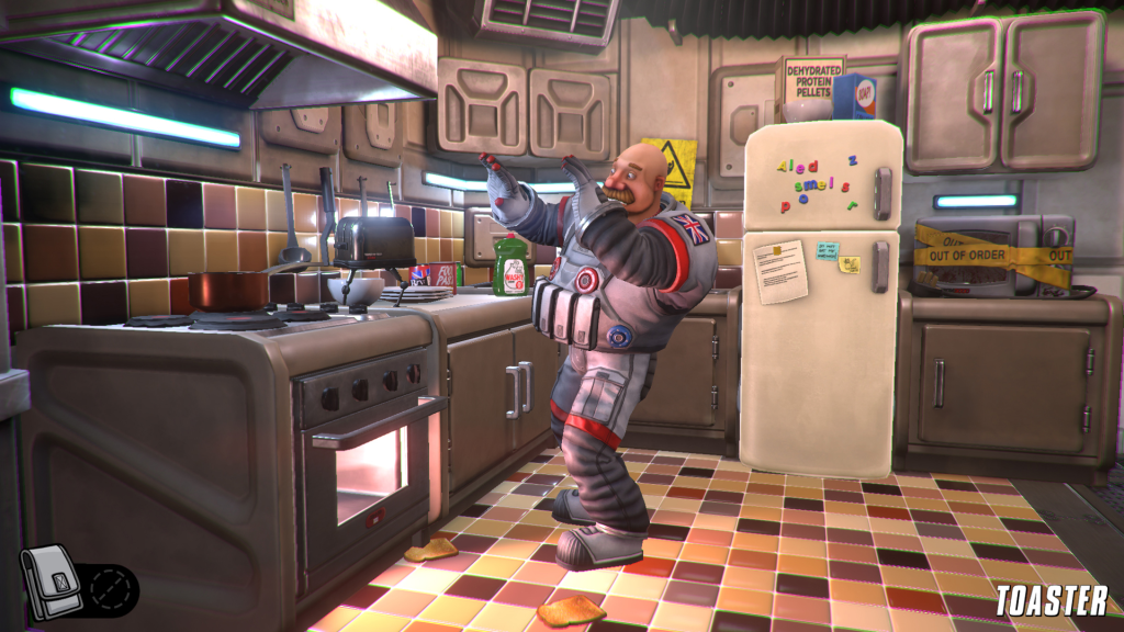Her Majesty's Spiffing gameplay showing player in a kitchen being attacked by a toaster