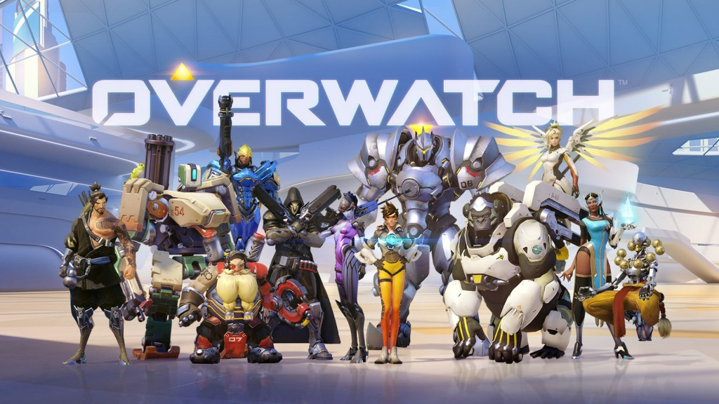 Overwatch champions standing together to take a group photo