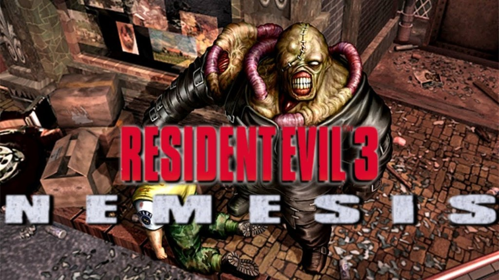 Resident Evil 3 Nemesis logo with the Nemesis creation in the background