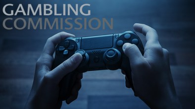 Gambling Commission logo with PlayStation controller in the background