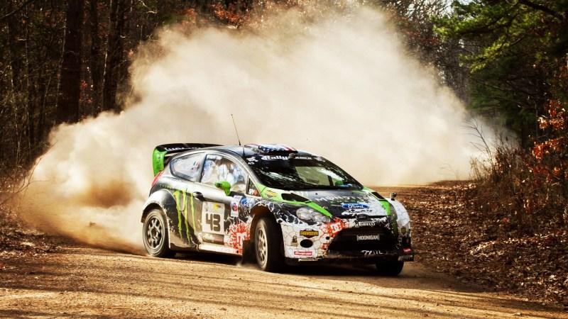 Rally car on a dirt track