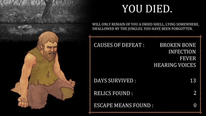 End screen from Island following death.
