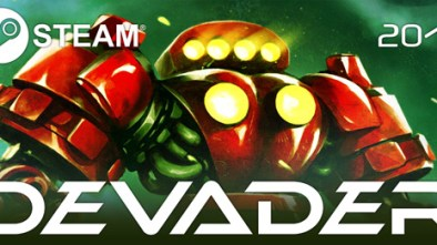 Devader Logo with space alien thing in the background