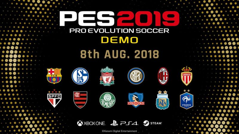 A list of the currently available teams on the PES 2019 demo