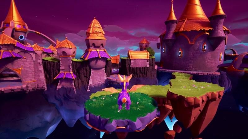 Spyro Reignttied Trilogy gameplay of Spyro gliding to a floating platform