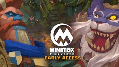 MINImax Tinyverse Early Access Header image showing two characters from the game by each side of the logo