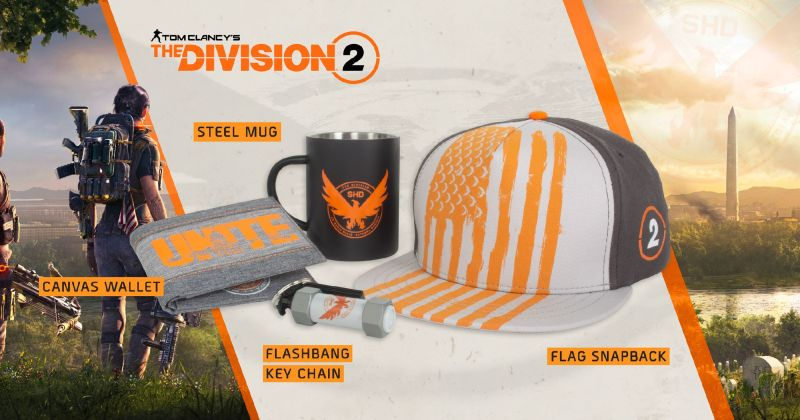 Numskull merch from the division 2 range, consisting of mug, wallet, keychain and hat.