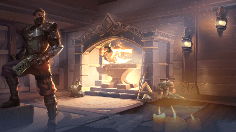 Realm Royale artwork showing a champion standing in front of a forge making a weapon