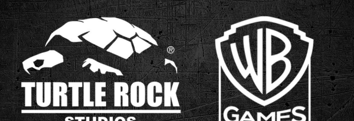 Turtle Rock Studios side-by-side with WB Games logos for Back 4 Blood