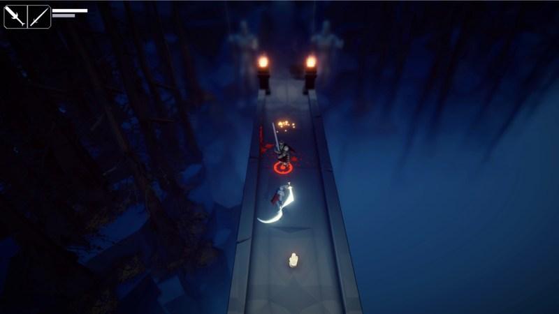 Fall of Light Darkest Edition gameplay showing a battle on a bridge