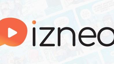 izneo logo with a faint comic strip background