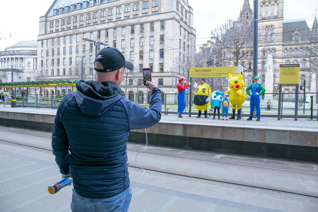 Manchester Metrolink - Passer by captures action at Tetris Square aka St Peter's Square