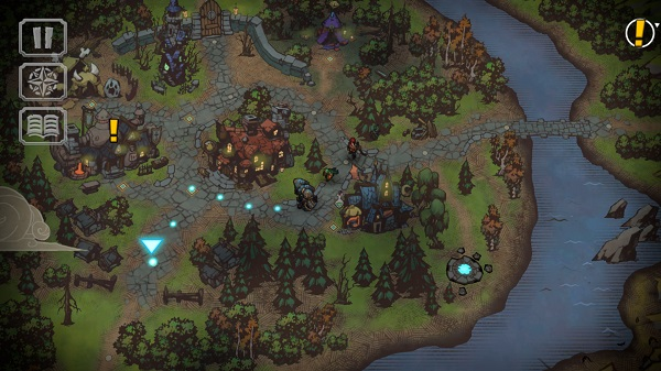 Battle Chasers: Nightwar gameplay showing in-game map